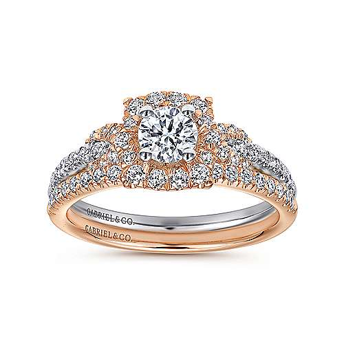 Art 14k White And Rose Gold Round Halo Engagement Ring