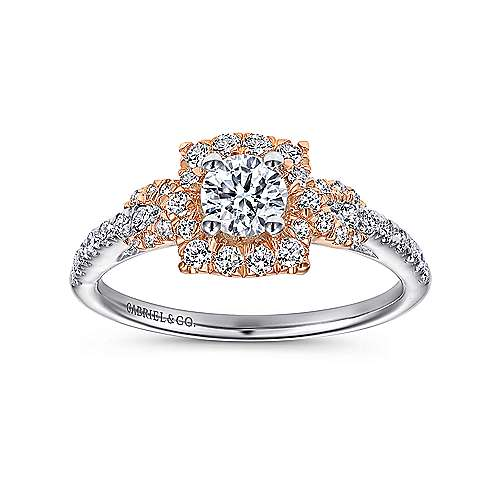 Art 14k White And Rose Gold Round Halo Engagement Ring angle 5