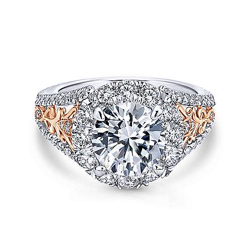 Gabriel - Aruba 18k White And Rose Gold Round Halo Engagement Ring