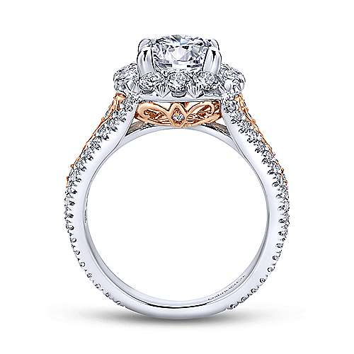Aruba 18k White And Rose Gold Round Halo Engagement Ring