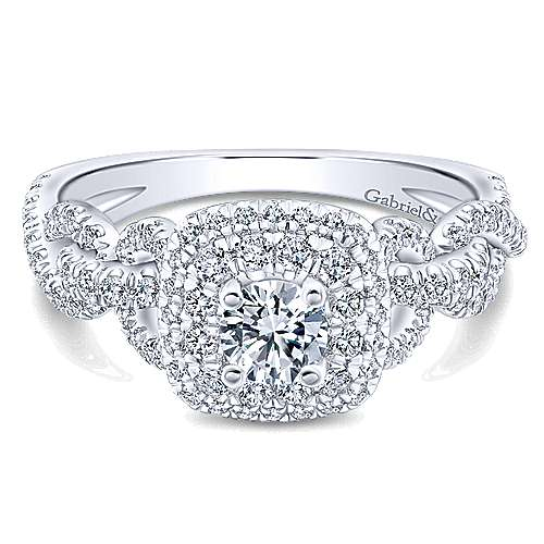 Gabriel - Arvid 14k White Gold Round Double Halo Engagement Ring