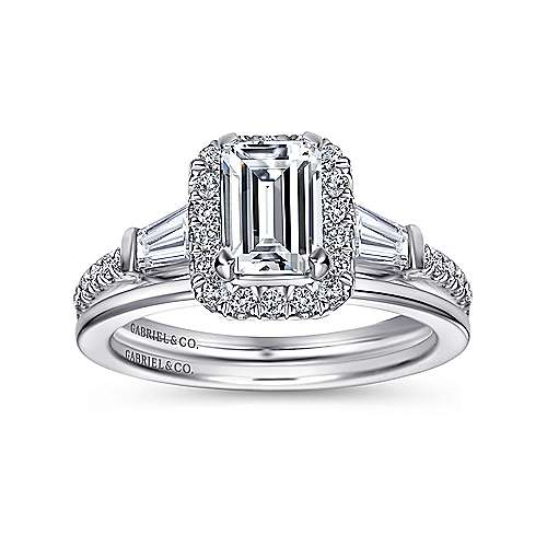 Ashton 14k White Gold Emerald Cut Halo Engagement Ring angle 4