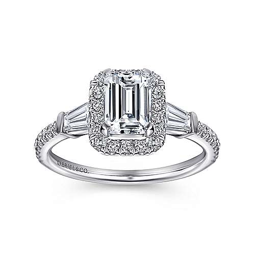 Ashton 14k White Gold Emerald Cut Halo Engagement Ring angle 5