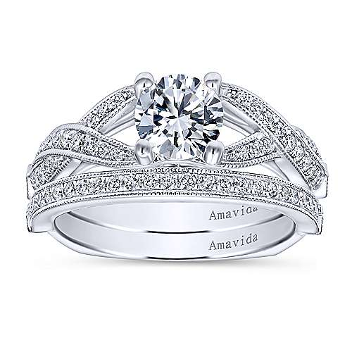 Asia 18k White Gold Round Twisted Engagement Ring angle 4