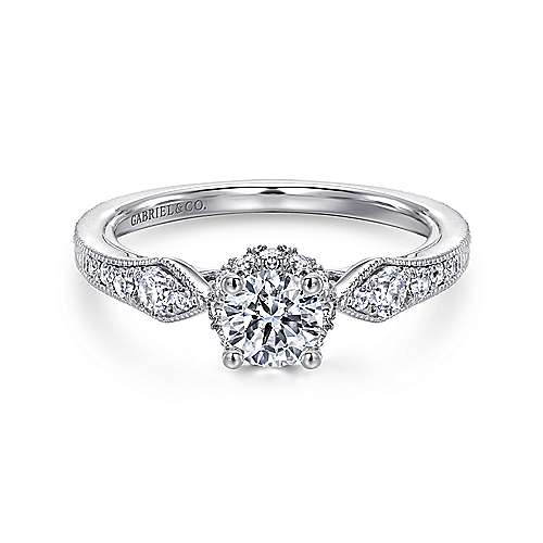 Gabriel - Aspire 14k White Gold Round Halo Engagement Ring