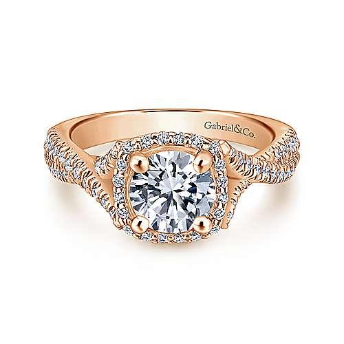 Gabriel - Aster 14k Rose Gold Round Halo Engagement Ring