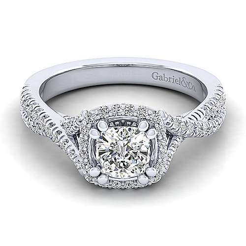 Gabriel - Aster 14k White Gold Cushion Cut Halo Engagement Ring
