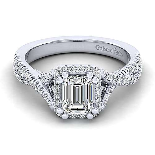 Gabriel - Aster 14k White Gold Emerald Cut Halo Engagement Ring