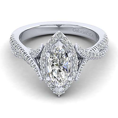 Gabriel - Aster 14k White Gold Marquise  Halo Engagement Ring