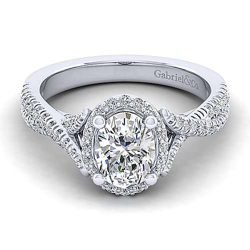 Gabriel - Aster 14k White Gold Oval Halo Engagement Ring