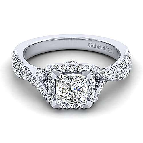 Gabriel - Aster 14k White Gold Princess Cut Halo Engagement Ring