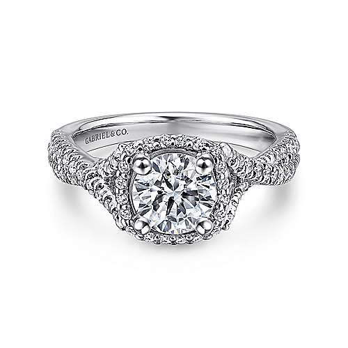 Gabriel - Aster 14k White Gold Round Halo Engagement Ring