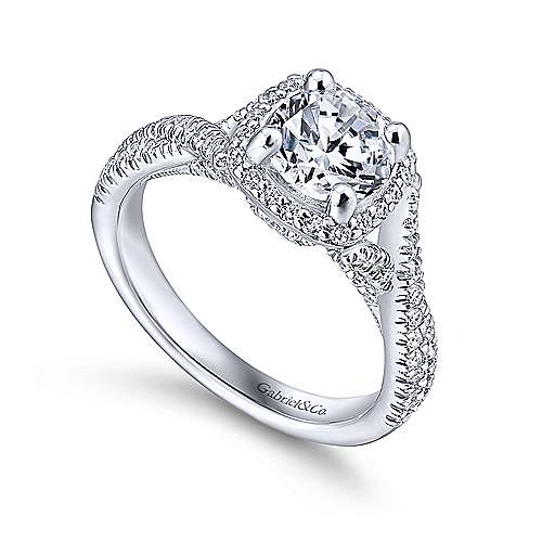 Aster 14k White Gold Round Halo Engagement Ring angle 3