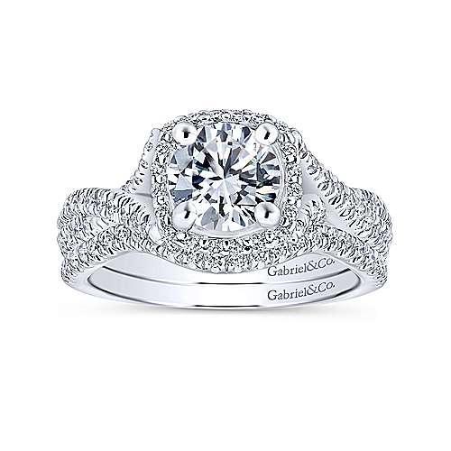 Aster 14k White Gold Round Halo Engagement Ring angle 4