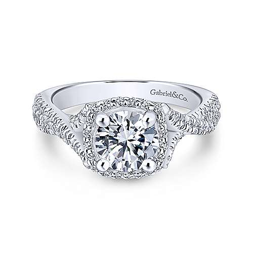 Gabriel - Aster 18k White Gold Round Halo Engagement Ring