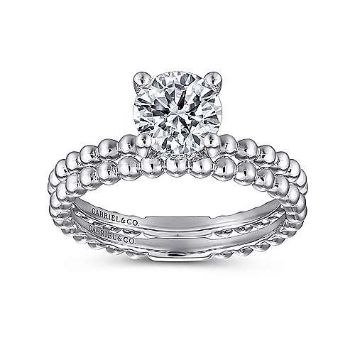 Athena 14k White Gold Round Solitaire Engagement Ring angle 4