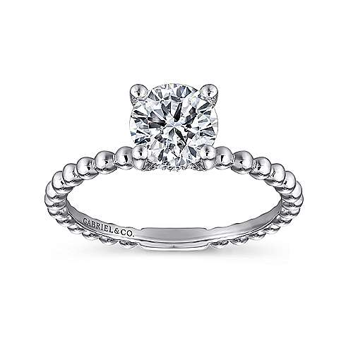 Athena 14k White Gold Round Solitaire Engagement Ring angle 5