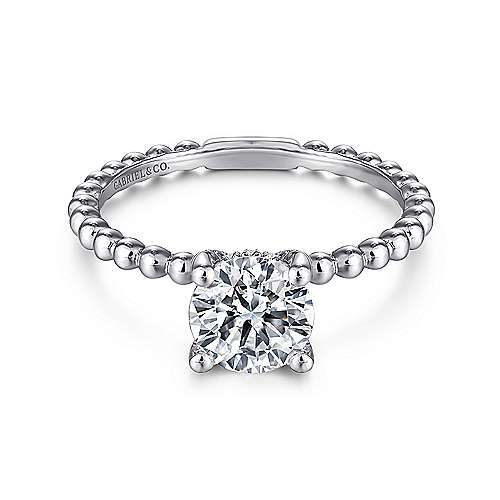 Gabriel - Athena 14k White Gold Round Straight Engagement Ring