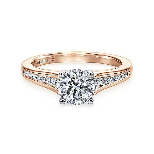 Aubrey 14k White And Rose Gold Round Straight Engagement Ring angle 1