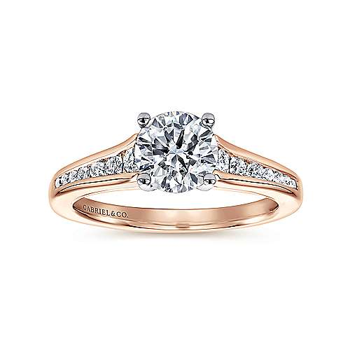 Aubrey 14k White And Rose Gold Round Straight Engagement Ring angle 5