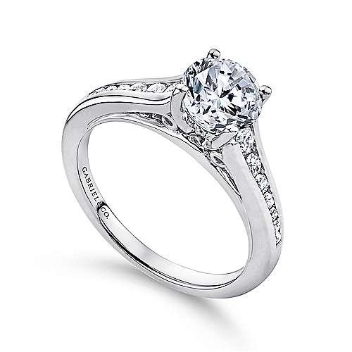 Aubrey 14k White Gold Round Straight Engagement Ring angle 3