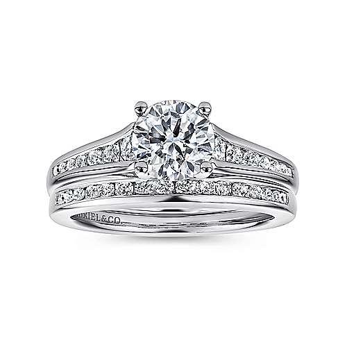 Aubrey 14k White Gold Round Straight Engagement Ring angle 4