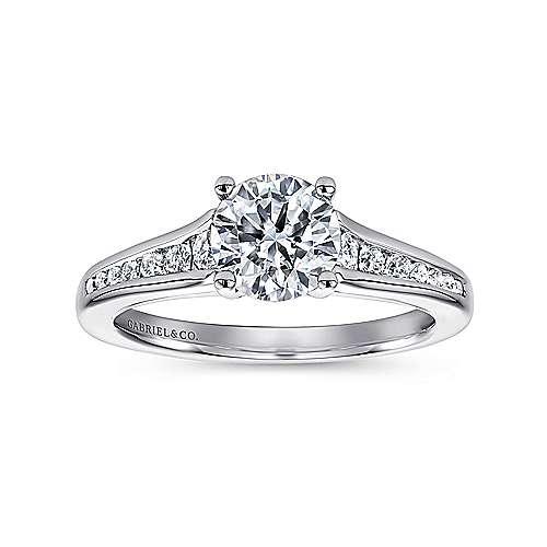 Aubrey 14k White Gold Round Straight Engagement Ring angle 5