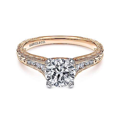 Audra 14k White And Rose Gold Round Straight Engagement Ring angle 1