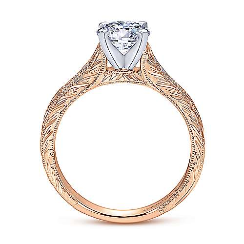 Audra 14k White And Rose Gold Round Straight Engagement Ring angle 2