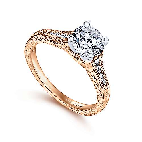 Audra 14k White And Rose Gold Round Straight Engagement Ring angle 3