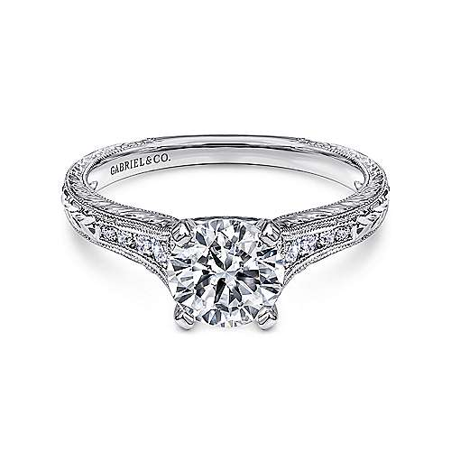 Gabriel - Audra 14k White Gold Round Straight Engagement Ring
