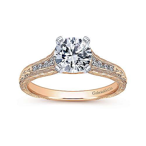 Audra 14k White/pink Gold Round Straight Engagement Ring angle 5