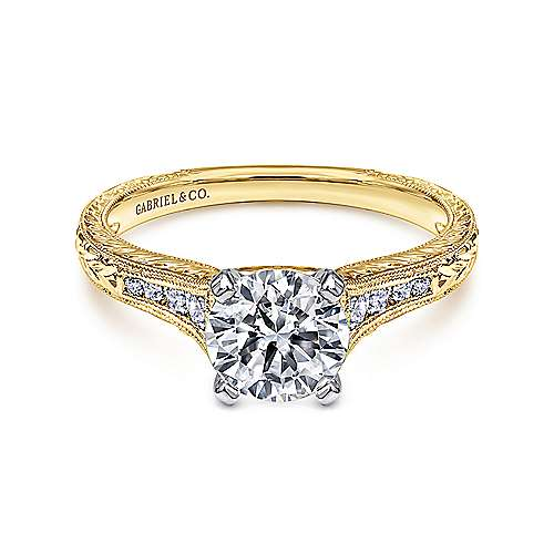Gabriel - Audra 14k Yellow And White Gold Round Straight Engagement Ring