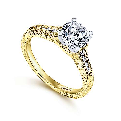 Audra 14k Yellow/white Gold Round Straight Engagement Ring angle 3