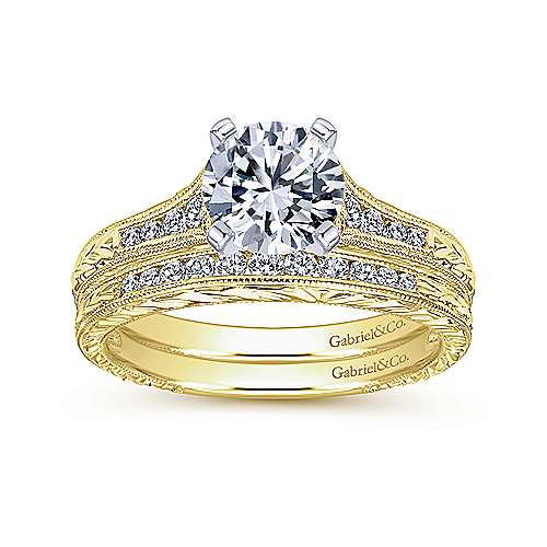 Audra 14k Yellow/white Gold Round Straight Engagement Ring angle 4