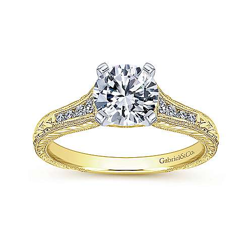 Audra 14k Yellow/white Gold Round Straight Engagement Ring angle 5