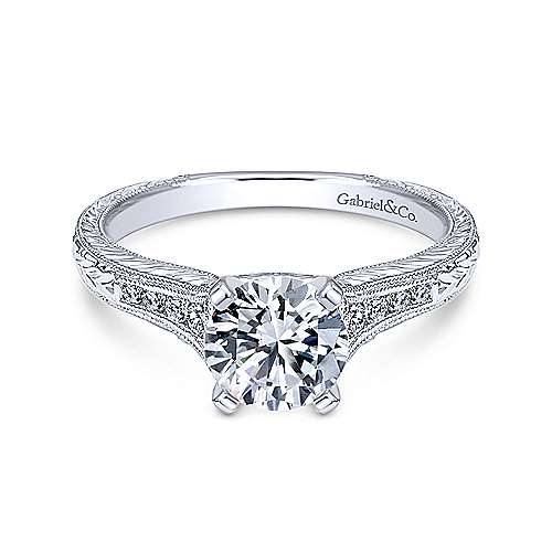 Gabriel - Audra 18k White Gold Round Straight Engagement Ring