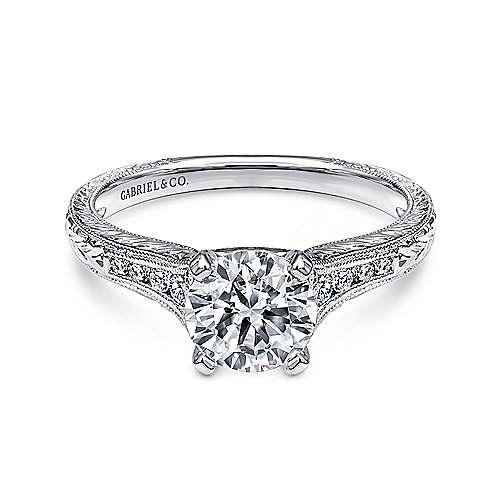 Gabriel - Audra Platinum Round Straight Engagement Ring