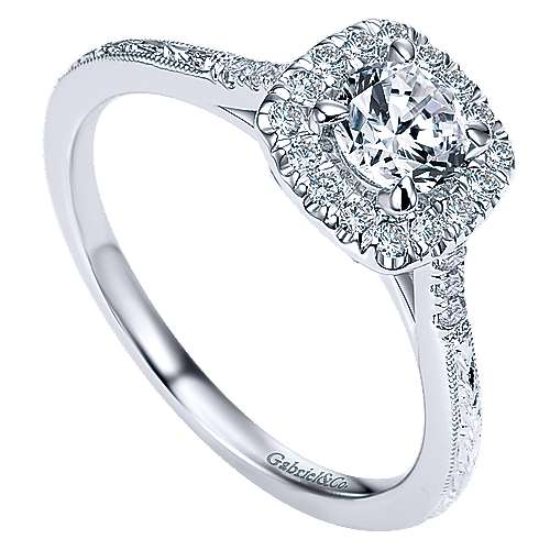 Audrey 14k White Gold Round Halo Engagement Ring angle 3