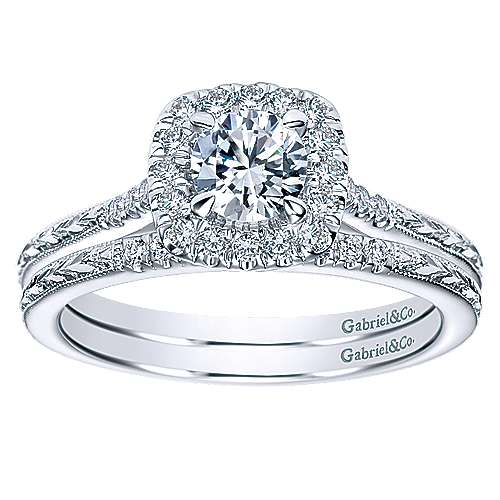 Audrey 14k White Gold Round Halo Engagement Ring angle 4