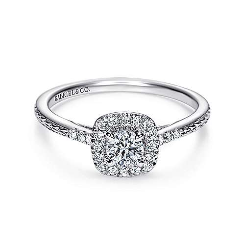 Gabriel - Audrey 14k White Gold Round Halo Engagement Ring