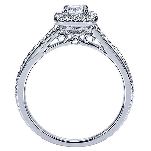Audrey 14k White Gold Round Halo Engagement Ring