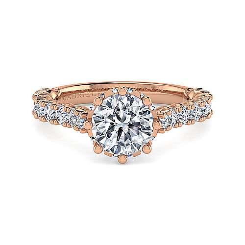 Gabriel - Augusta 14k Rose Gold Round Straight Engagement Ring