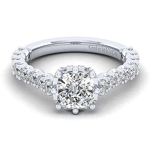Gabriel - Augusta 14k White Gold Cushion Cut Straight Engagement Ring