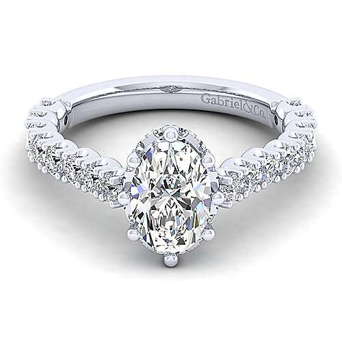 Gabriel - Augusta 14k White Gold Oval Straight Engagement Ring