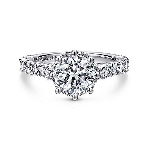 Gabriel - Augusta 14k White Gold Round Straight Engagement Ring