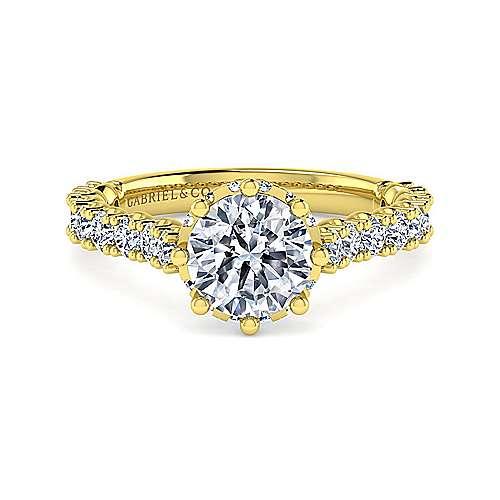 Gabriel - Augusta 14k Yellow Gold Round Straight Engagement Ring