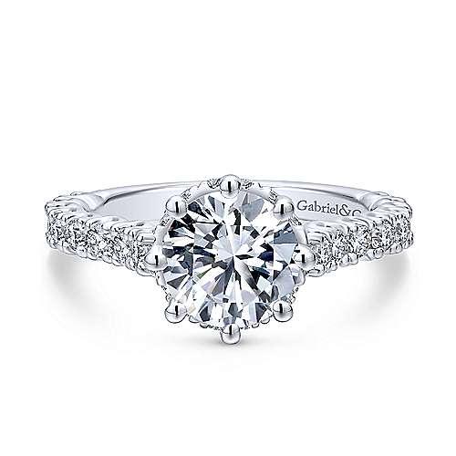 Gabriel - Augusta 18k White Gold Round Straight Engagement Ring
