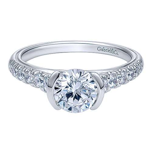 Gabriel - Aura 14k White Gold Round Straight Engagement Ring