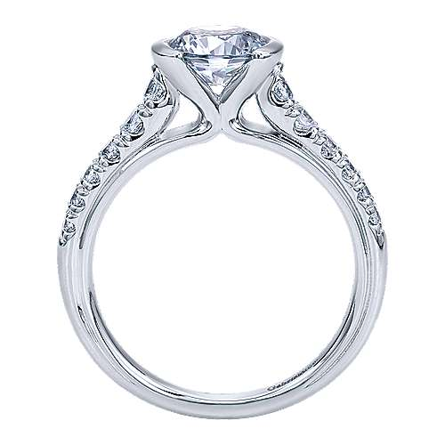 Aura 14k White Gold Round Straight Engagement Ring